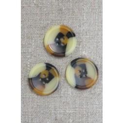 4-huls knap i brun, gylden og beige meleret, 25 mm.-20