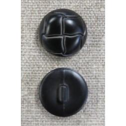 Plast knap i sort læderlook, 20 mm.-20