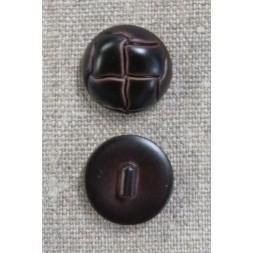 Plast knap i brun læderlook, 20 mm.-20