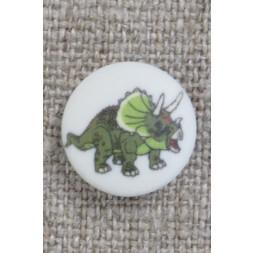 Knap med dinosaur i hvid og grøn, 15 mm.-20