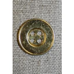 4-huls metal-knap guld, 18 mm.-20