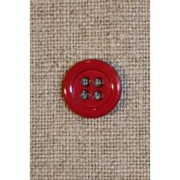 4-huls knap hindbærrød 12 mm.-20