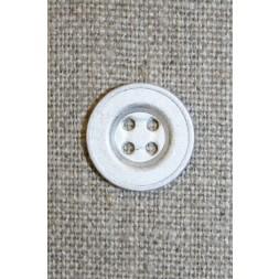 4-huls mat sølv-knap, 15 mm.-20