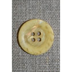 4-huls knap krakeleret lys gul, 20 mm.-20