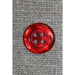 Rød blank 4-huls knap, 12 mm.-20