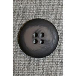 4-huls knap grå-brun meleret, 20 mm.-20