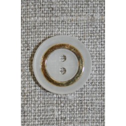 Off-white 2-huls knap m/guld-ring-20