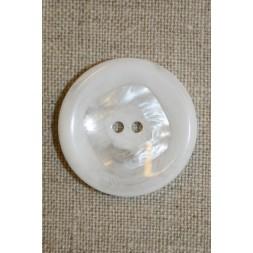 Stor hvid knap m/firkant 30 mm.-20