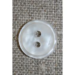 Knækket hvid 2-huls knap, 14 mm.-20