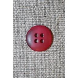 4-huls knap hindbærrød meleret, 15 mm.-20