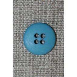 Blå-petrol 4-huls knap, 15 mm.-20