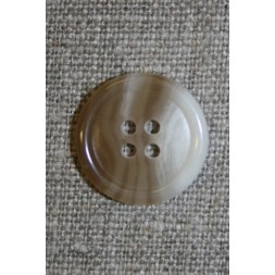 Meleret 4-huls knap lysebrun/off-white, 18 mm.-20