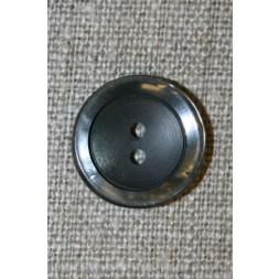 Koksgrå 2-huls knap m/blank kant-20
