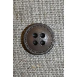 Grå-brun knap m/stikning, 15 mm.-20