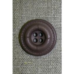 Grå-brun 4-huls knap i læder-look-20