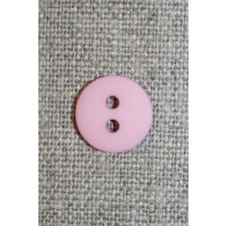 Lys rosa 2-huls knap, 15 mm.-20