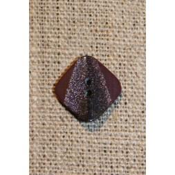 Firkantet knap m/glimmer, 18 mm. vinrød-20