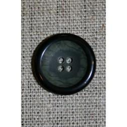 Grå/grøn meleret knap m/sort kant 20 mm.-20