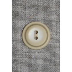 Creme farvet 2-huls knap m/kant, 22 mm.-20