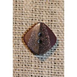 Firkantet knap m/glimmer, vinrød 15 mm.-20
