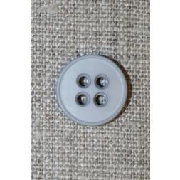 Lysegrå 4-huls knap, 15 mm.-20