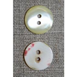 2-huls lysegul perlemorsknap, 17 mm.-20