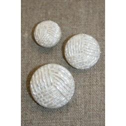 Knap i perle-look, hvid 18 mm.-20