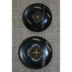 Sort knap m/guld and sølv mønster, 35 mm.-20