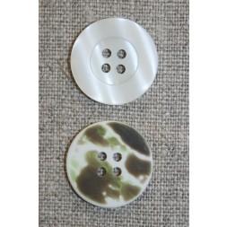 4-huls knap knækket hvid/camuflage, 20 mm.-20
