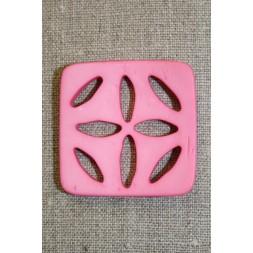 Stor firkantet knap m/huller, lyserød-20