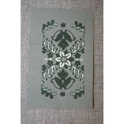 Motiv m/blomster-mønster Grå-grøn-20