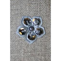Lille blomst m/perle/palietter, grå-20