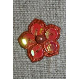 Lille blomst m/perle/palietter, rust/brændt orange-20