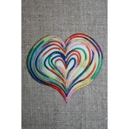 Hjerte m/multifarvede stikninger-20