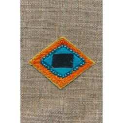 Motiv rude m/spejl, orange/turkis-20