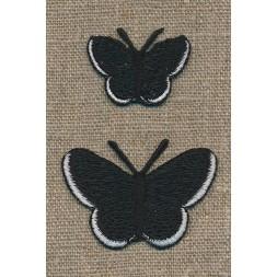 Strygemærke m/2 sommerfugle, sort-20