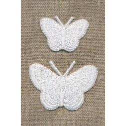 Strygemærke m/2 sommerfugle, hvid-20