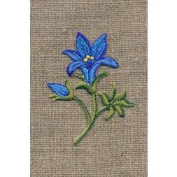 Motiv m/blomst/lilje, blå/grøn-20