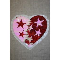 Motiv med vendbare pailletter hjerte med stjerner rød/lyserød-20