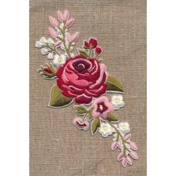 Motiv m/stor blomst, lyserød/støvet grøn-20