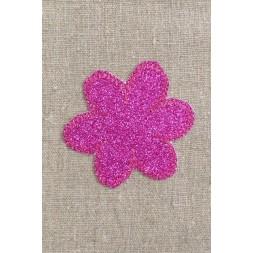 Motiv med blomst i glimmer i pink-20