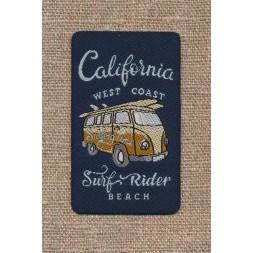 """Strygemærke i mørkeblå med VW bus og """"California Surf Rider""""-20"""
