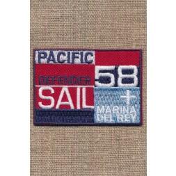 """Strygemærke i rød blå denim """"Pacific Defender Sail""""-20"""