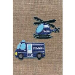 2 Strygemærke med politi bil og helikopter-20