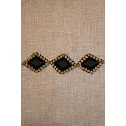 Aflangt strygemærke sort/guld-20