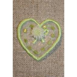 Organza-hjerte m/blomst, lime-20