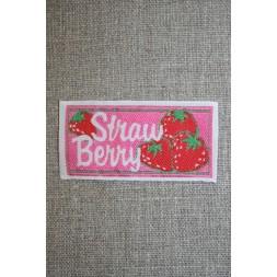 Mærke m/jordbær, pink/rød/grøn-20