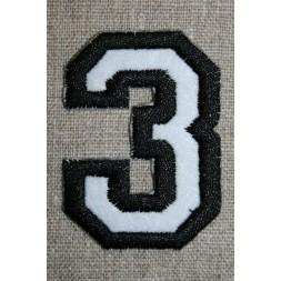 Strygemærke m/tal sort/hvid, 3-20