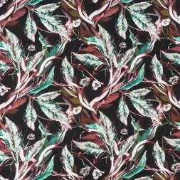 Bomuldssatin stretch med blade i sort, grøn, rød-brun-20