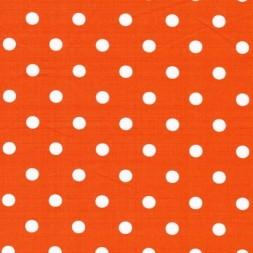 Bomulds-poplin m/hvide prikker, orange-20
